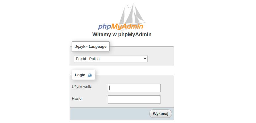 Jak zalogować się do panelu bazy danych phpMyAdmin?